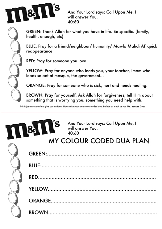 MnM Duas colour coded